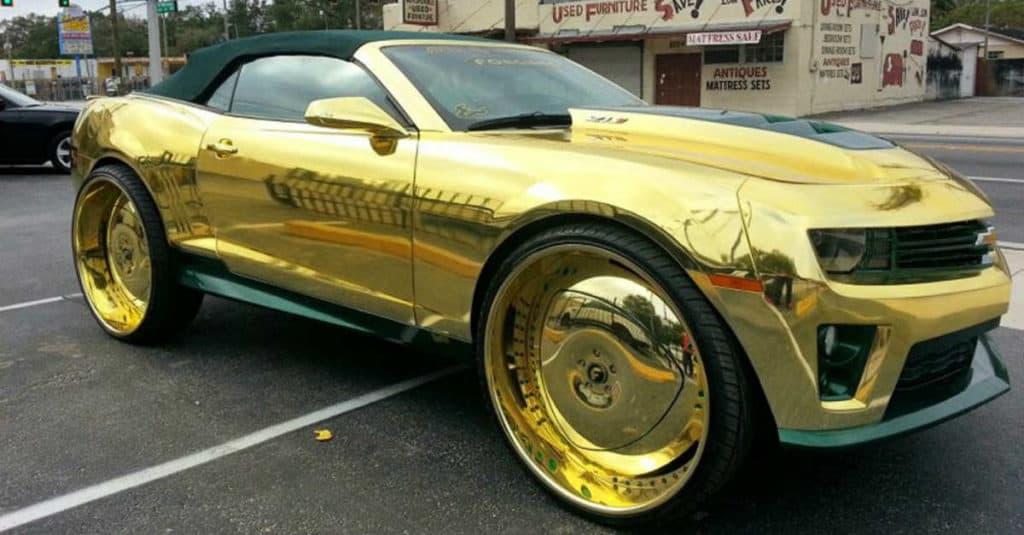 Gold Camero convertible car mod