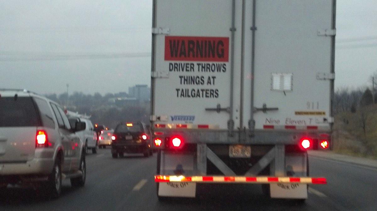 Funny bumper sticker on tractor trailer