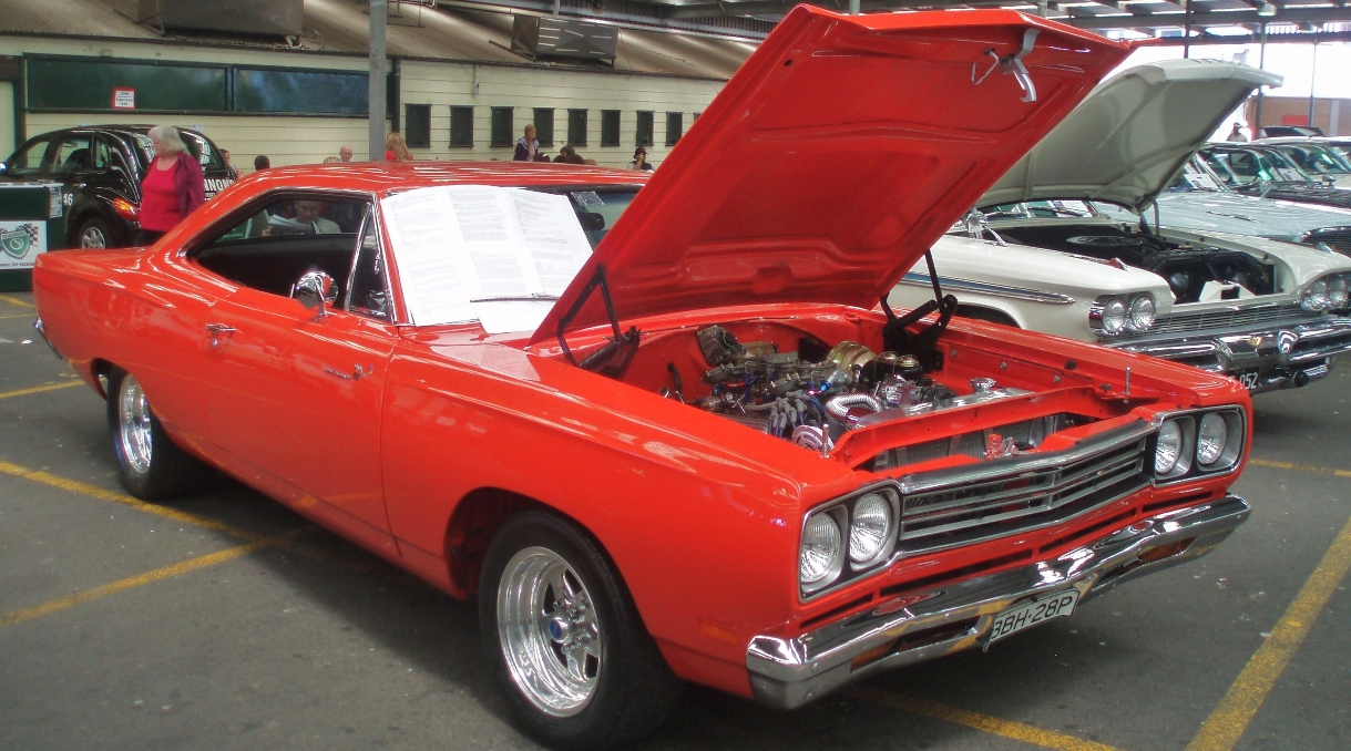 Red Plymouth Road Runner at a car show