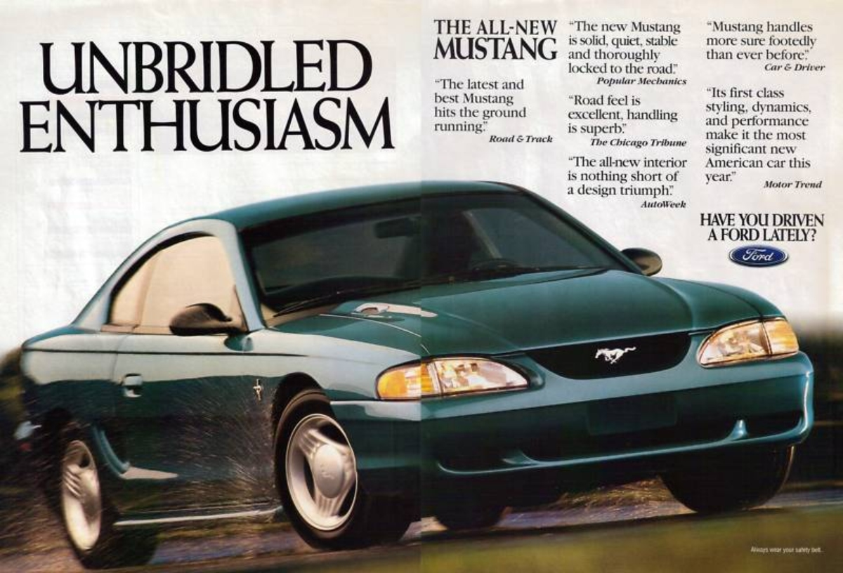 SN-95 Ford Mustang advertisement