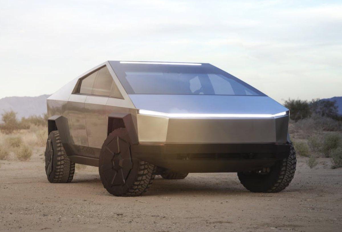Tesla Cybertruck, front desert