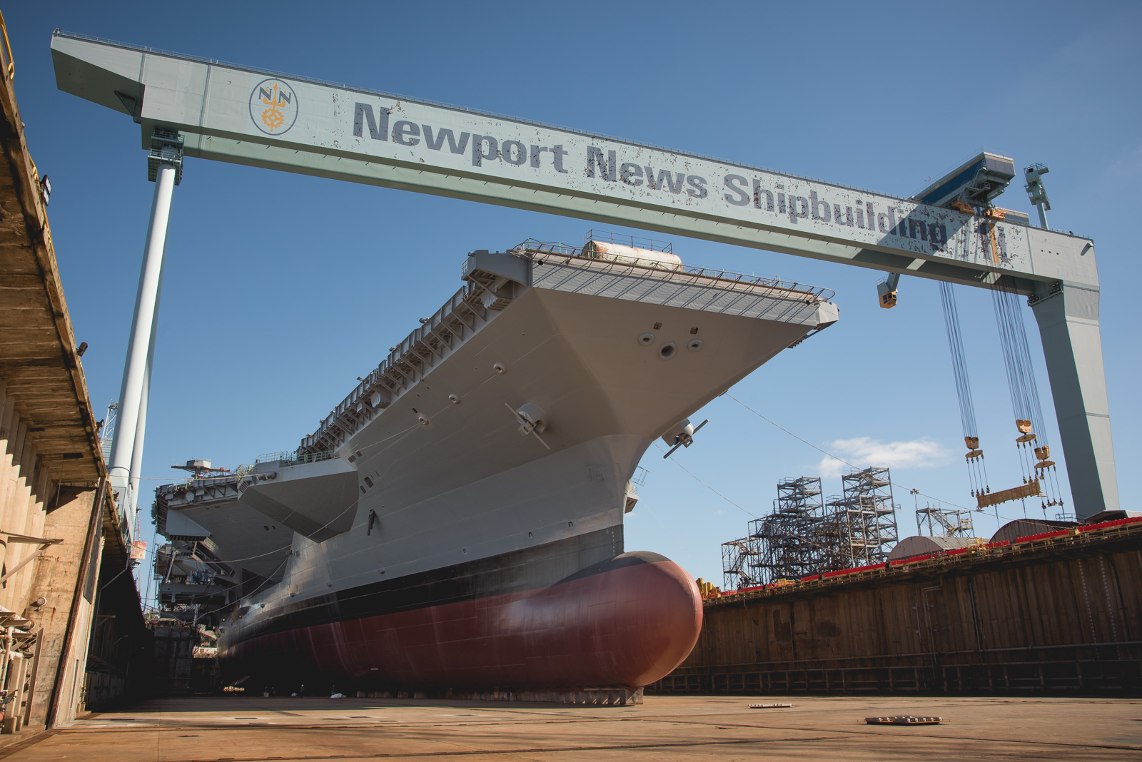 John F. Kennedy (CVN 79) in Dry Dock 12 the day before Newport News Shipbuilding floods the dry dock to move the ship.
