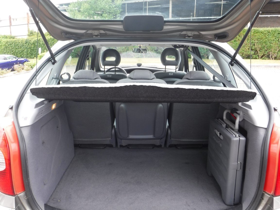 The folding shopping cart is visible on the right-hand side of the trunk