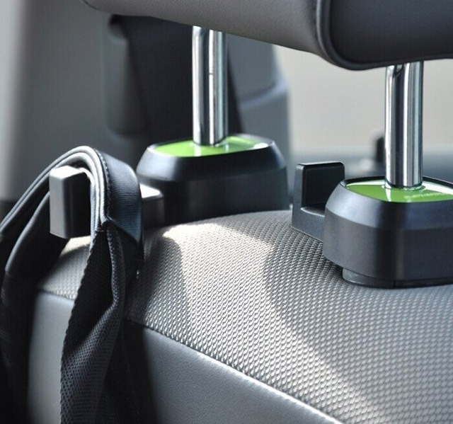 Hang grocery bags, purses, hats or coats from hooks in the car