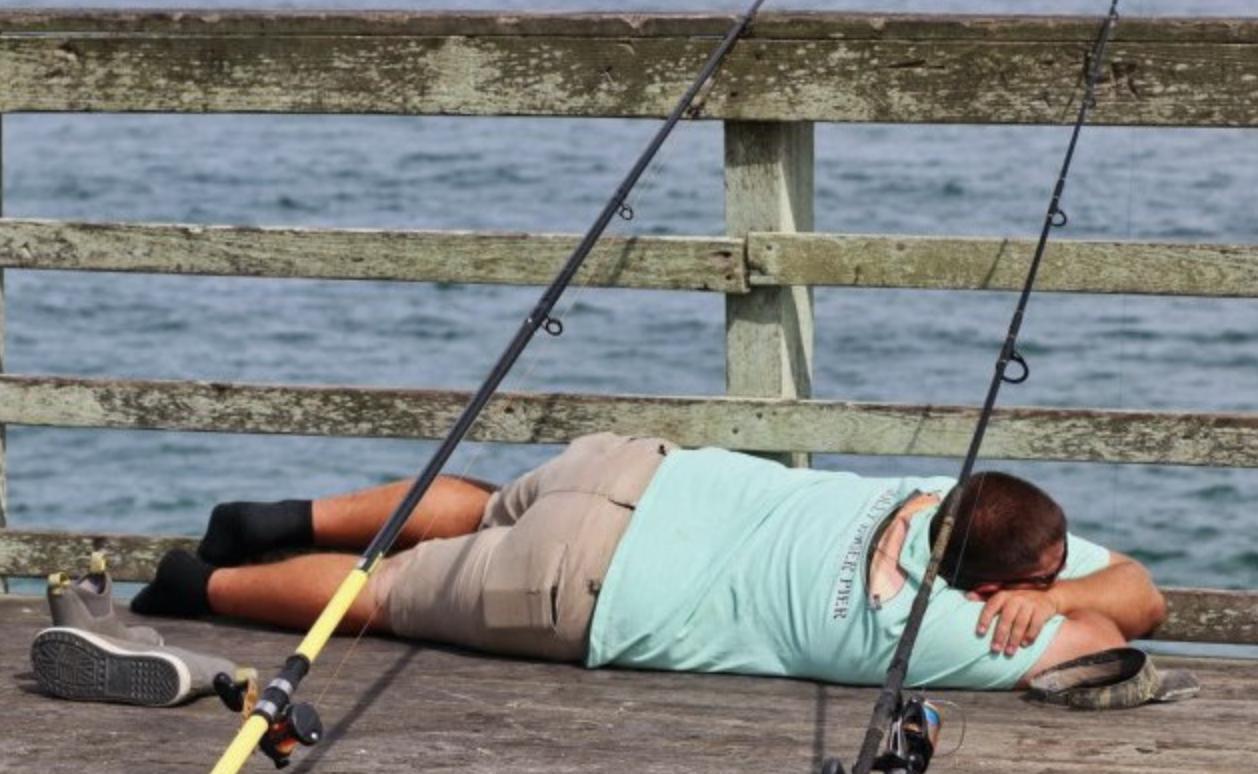 sleeping and fishing