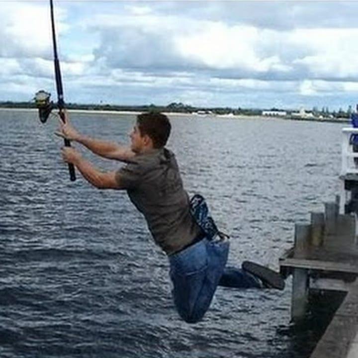 falling fishing